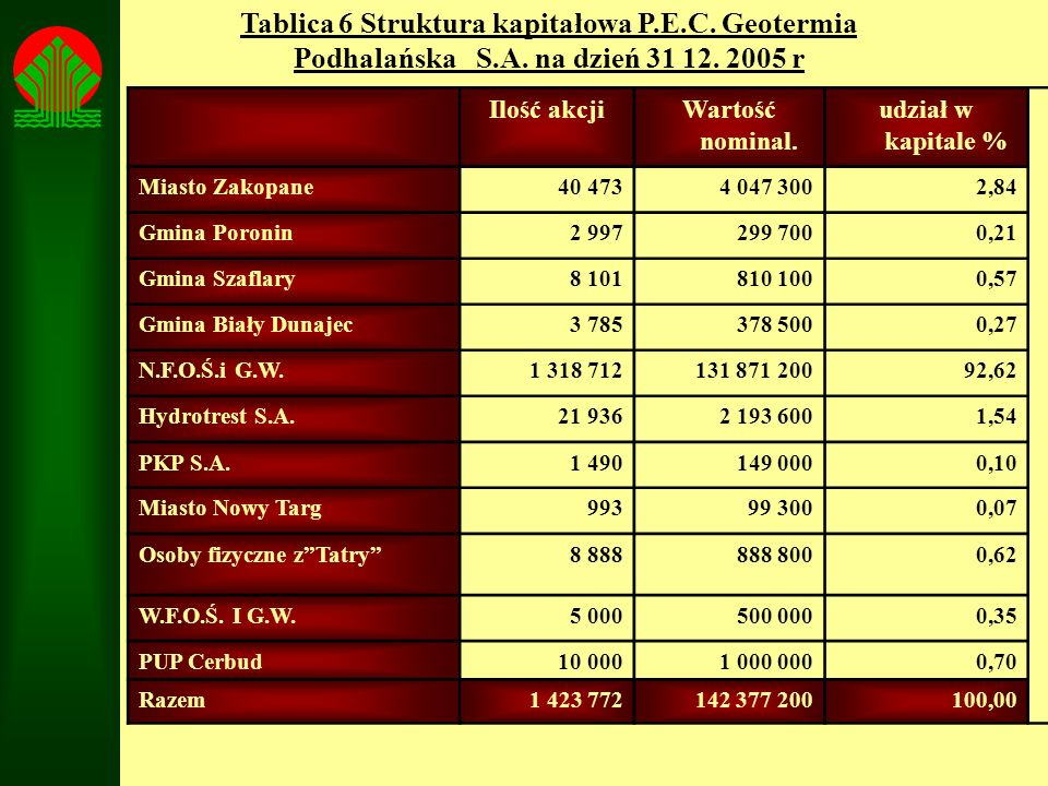 Tablica 6 Struktura kapitałowa P. E. C. Geotermia Podhalańska S. A
