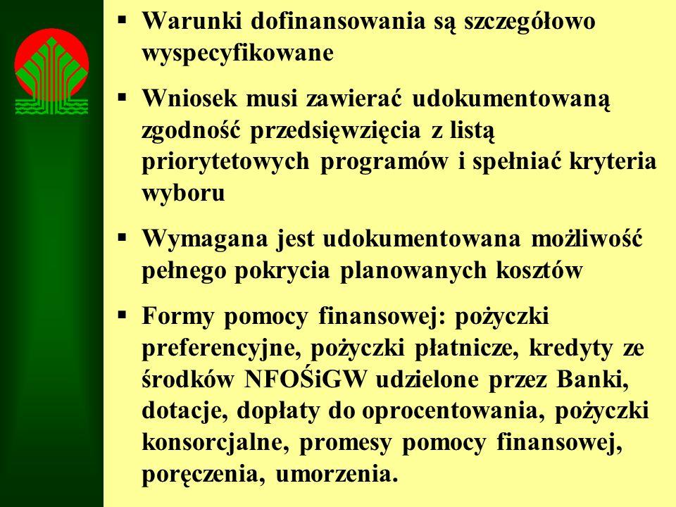 Warunki dofinansowania są szczegółowo wyspecyfikowane