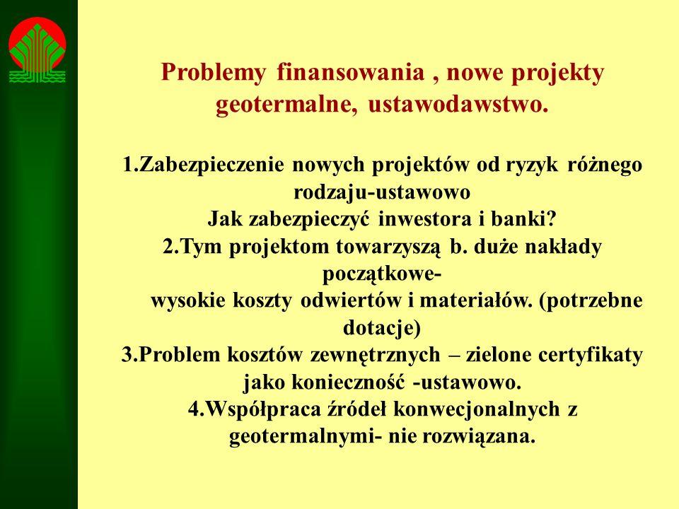 Problemy finansowania , nowe projekty geotermalne, ustawodawstwo.
