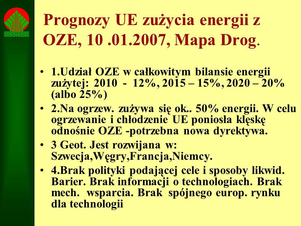 Prognozy UE zużycia energii z OZE, 10 .01.2007, Mapa Drog.