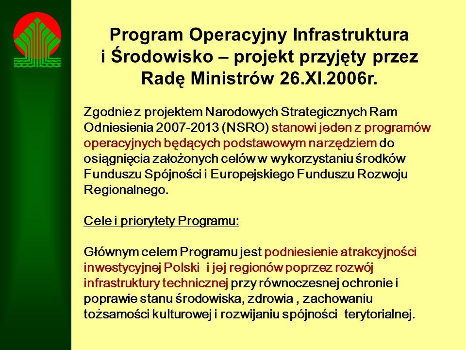 Program Operacyjny Infrastruktura i Środowisko – projekt przyjęty przez Radę Ministrów 26.XI.2006r.
