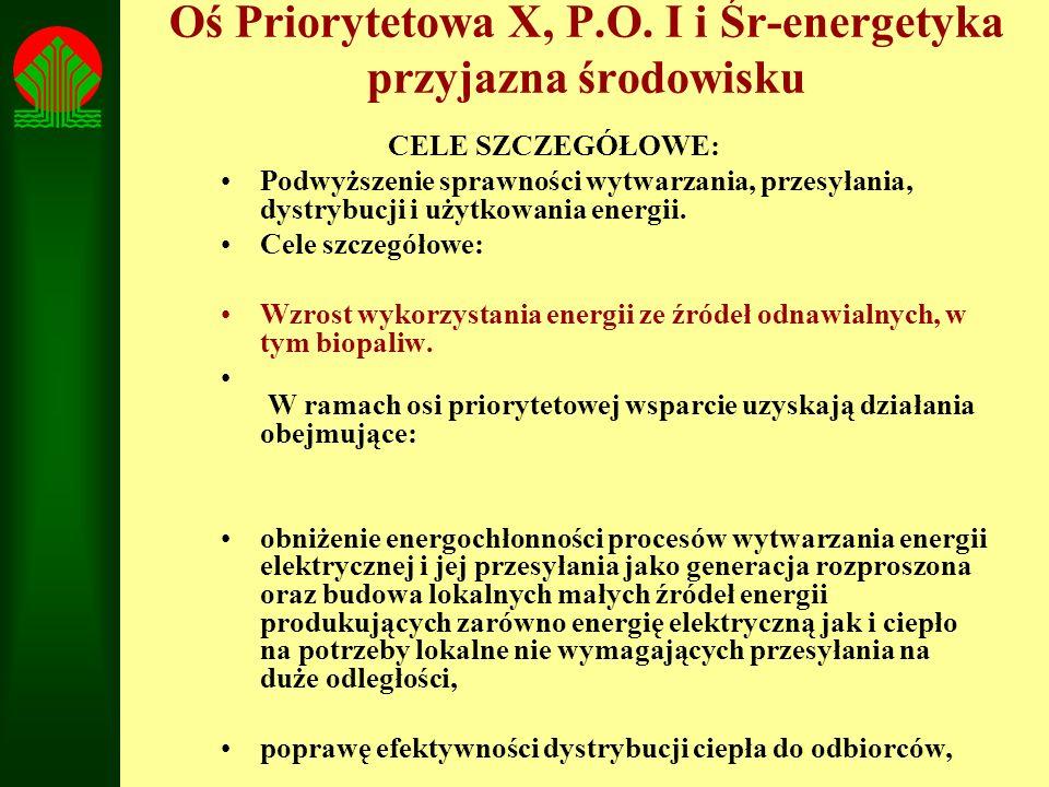 Oś Priorytetowa X, P.O. I i Śr-energetyka przyjazna środowisku