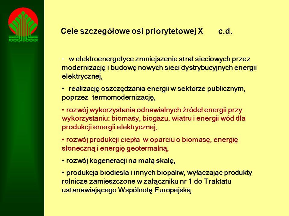 Cele szczegółowe osi priorytetowej X c.d.