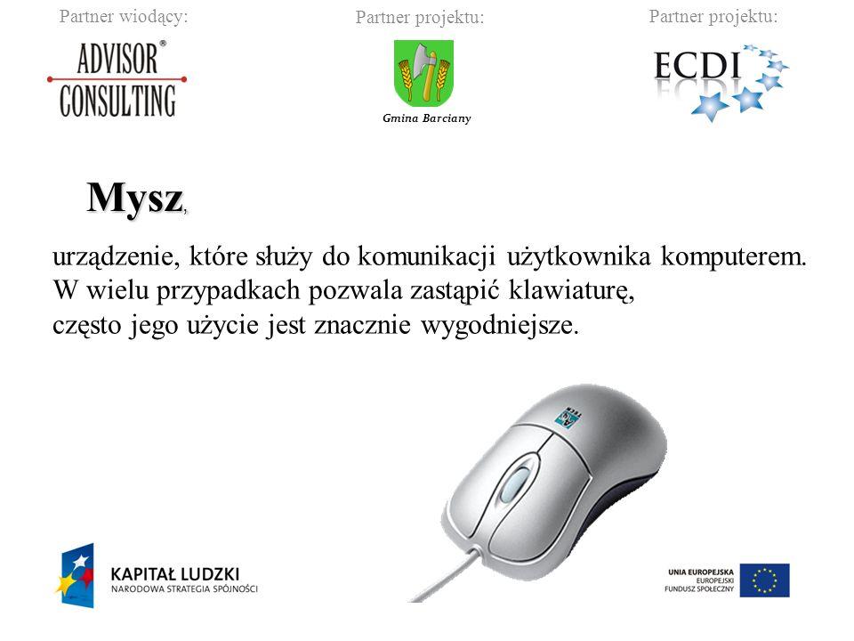 Mysz, urządzenie, które służy do komunikacji użytkownika komputerem.