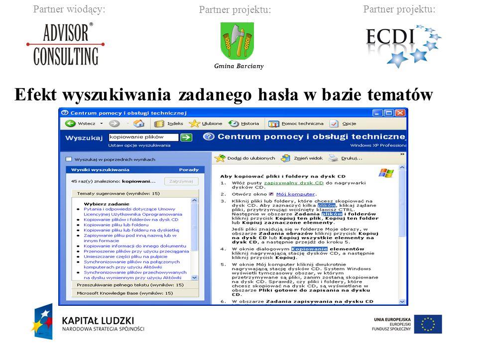 Efekt wyszukiwania zadanego hasła w bazie tematów