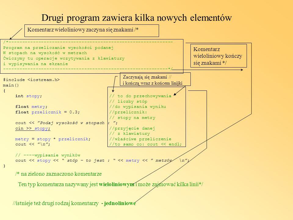 Drugi program zawiera kilka nowych elementów