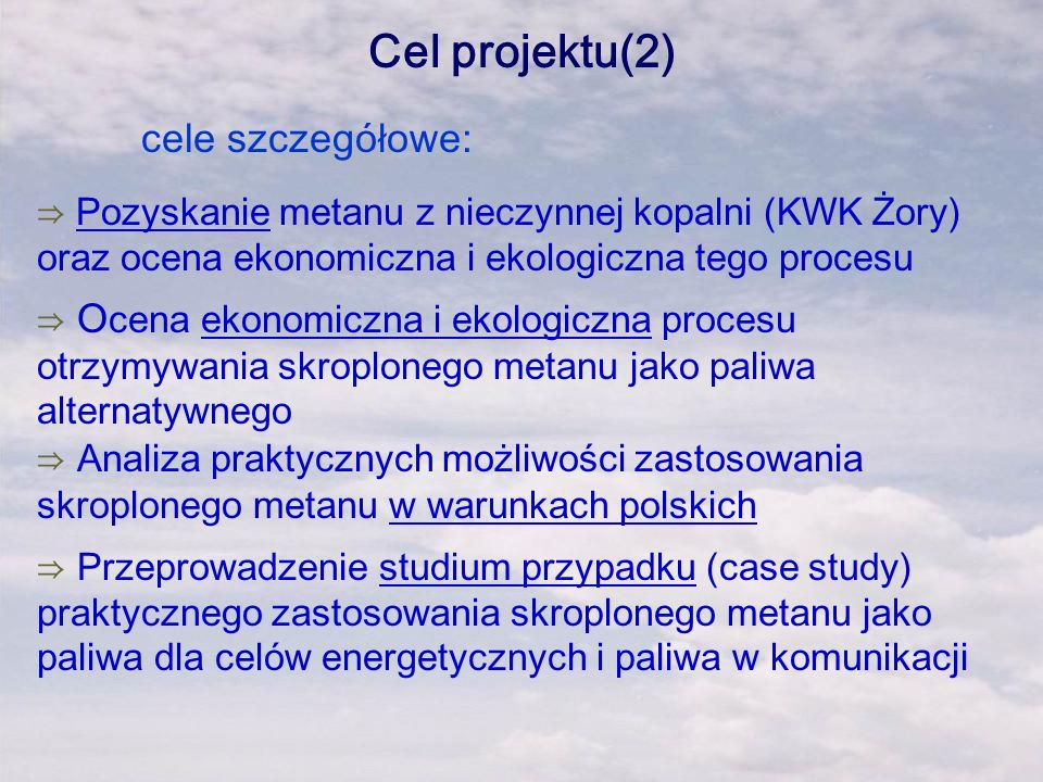 Cel projektu(2) cele szczegółowe: