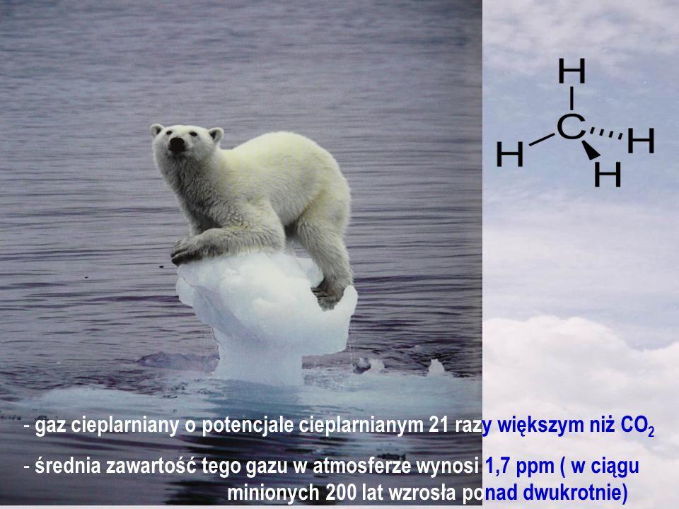 gaz cieplarniany o potencjale cieplarnianym 21 razy większym niż CO2