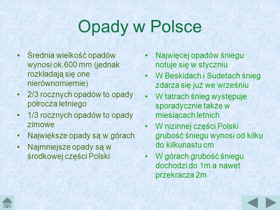 Opady w Polsce Średnia wielkość opadów wynosi ok.600 mm (jednak rozkładają się one nierównomiernie)