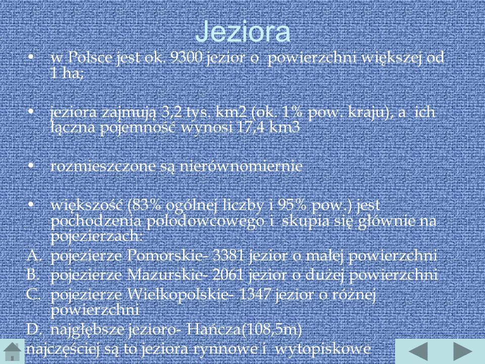 Jeziora w Polsce jest ok. 9300 jezior o powierzchni większej od 1 ha;