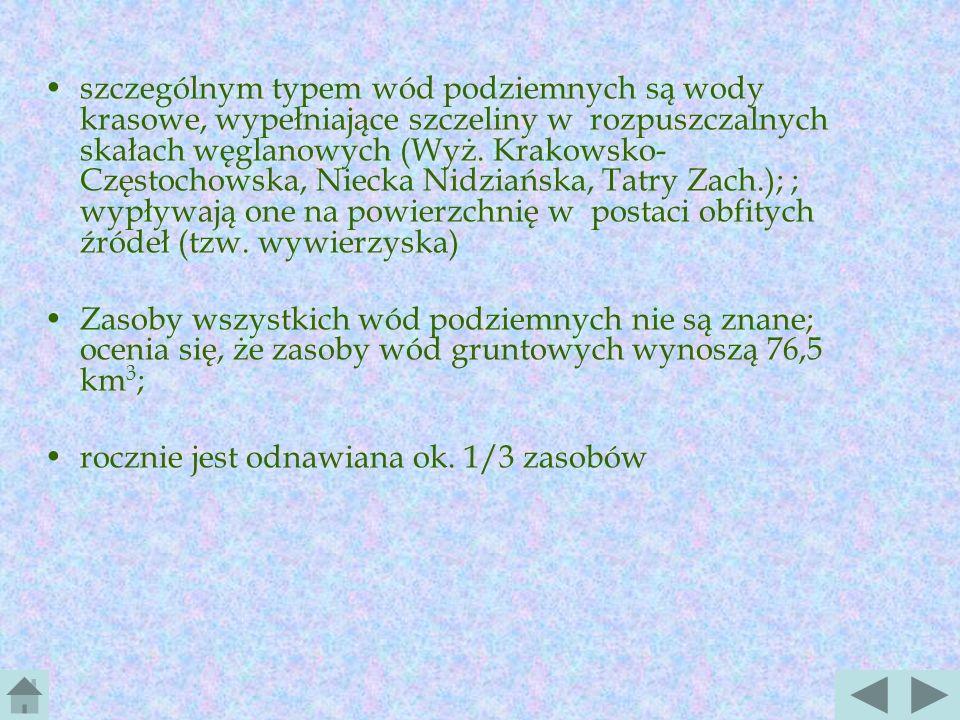 szczególnym typem wód podziemnych są wody krasowe, wypełniające szczeliny w rozpuszczalnych skałach węglanowych (Wyż. Krakowsko-Częstochowska, Niecka Nidziańska, Tatry Zach.); ; wypływają one na powierzchnię w postaci obfitych źródeł (tzw. wywierzyska)