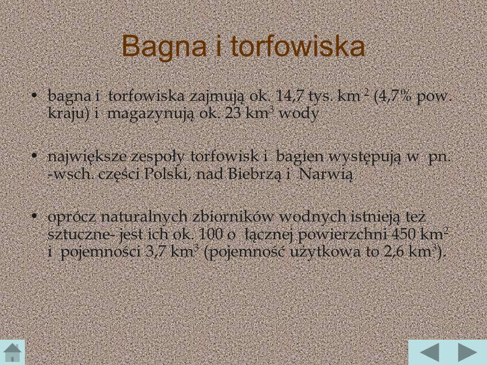 Bagna i torfowiska bagna i torfowiska zajmują ok. 14,7 tys. km 2 (4,7% pow. kraju) i magazynują ok. 23 km3 wody.