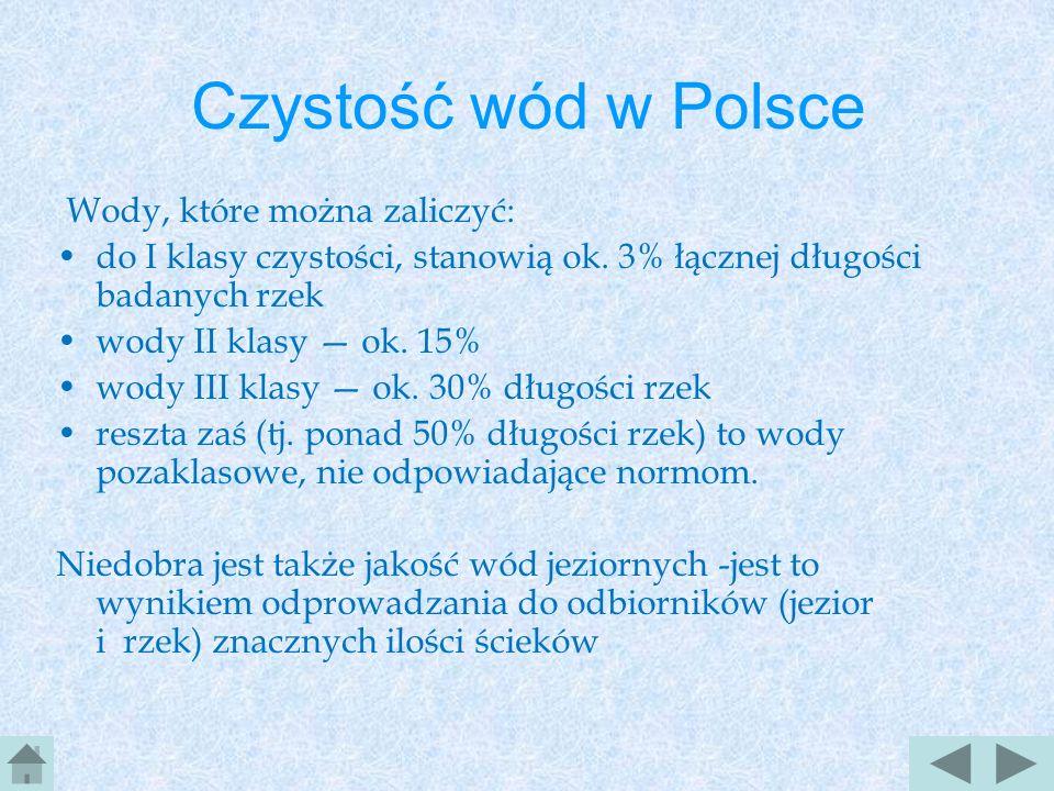 Czystość wód w Polsce Wody, które można zaliczyć: