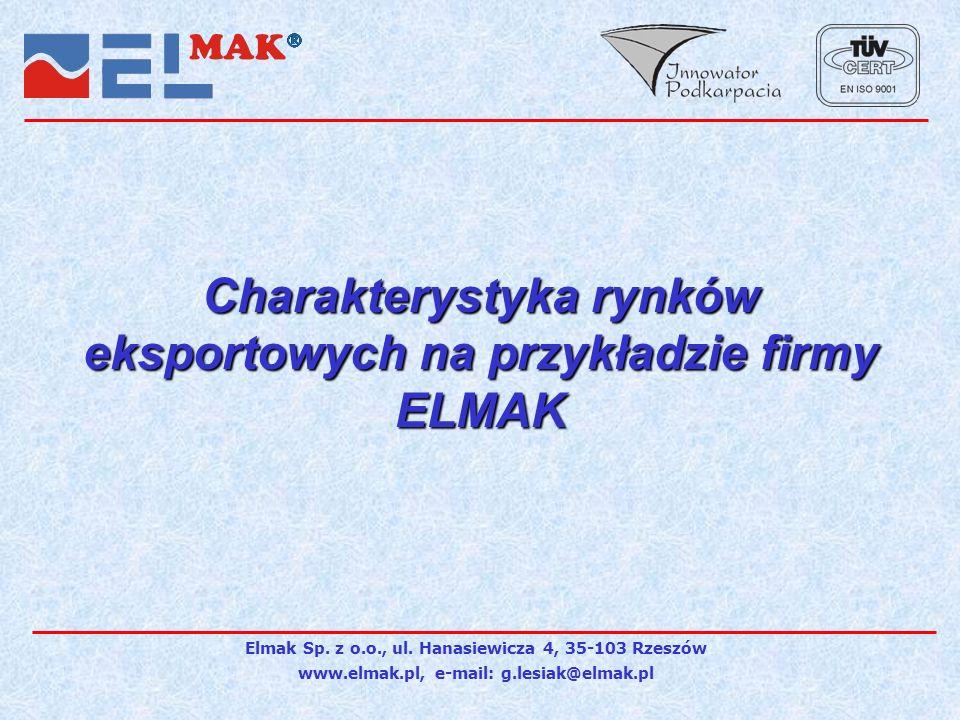 Charakterystyka rynków eksportowych na przykładzie firmy ELMAK