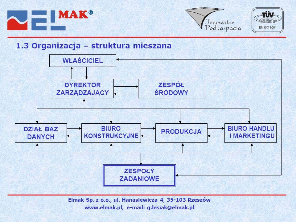 1.3 Organizacja – struktura mieszana
