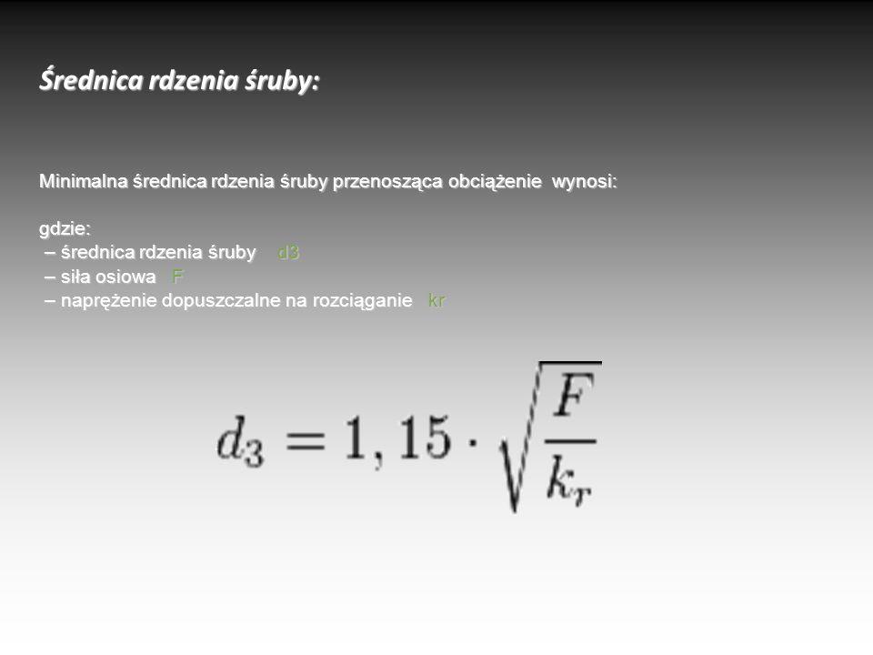 Średnica rdzenia śruby: Minimalna średnica rdzenia śruby przenosząca obciążenie wynosi: gdzie: – średnica rdzenia śruby d3 – siła osiowa F – naprężenie dopuszczalne na rozciąganie kr