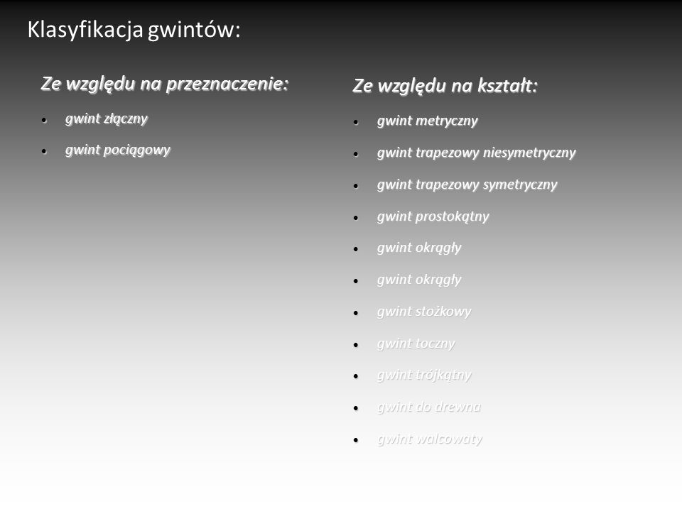 Klasyfikacja gwintów: