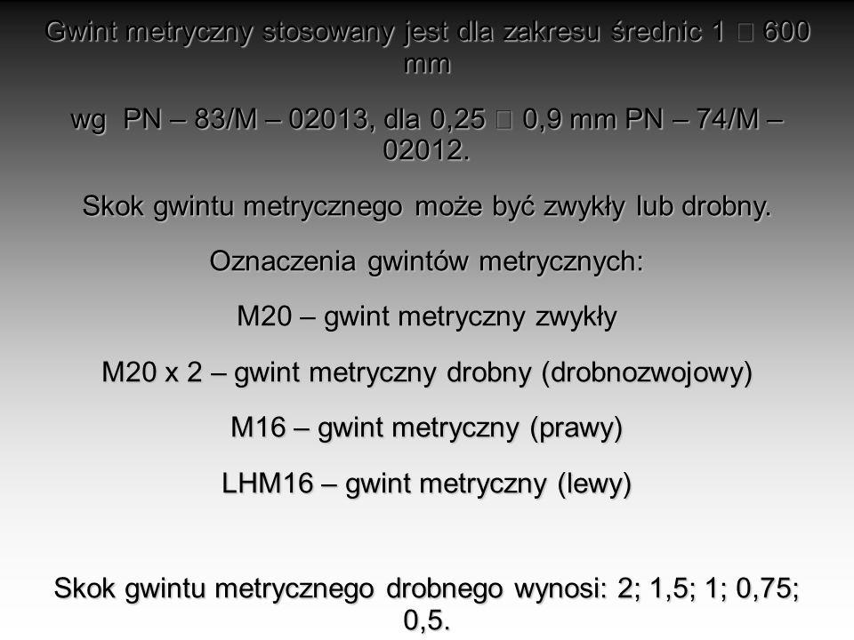 Gwint metryczny stosowany jest dla zakresu średnic 1  600 mm