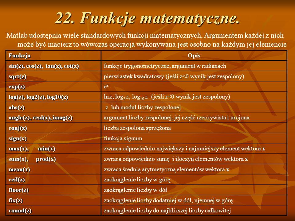 22. Funkcje matematyczne.