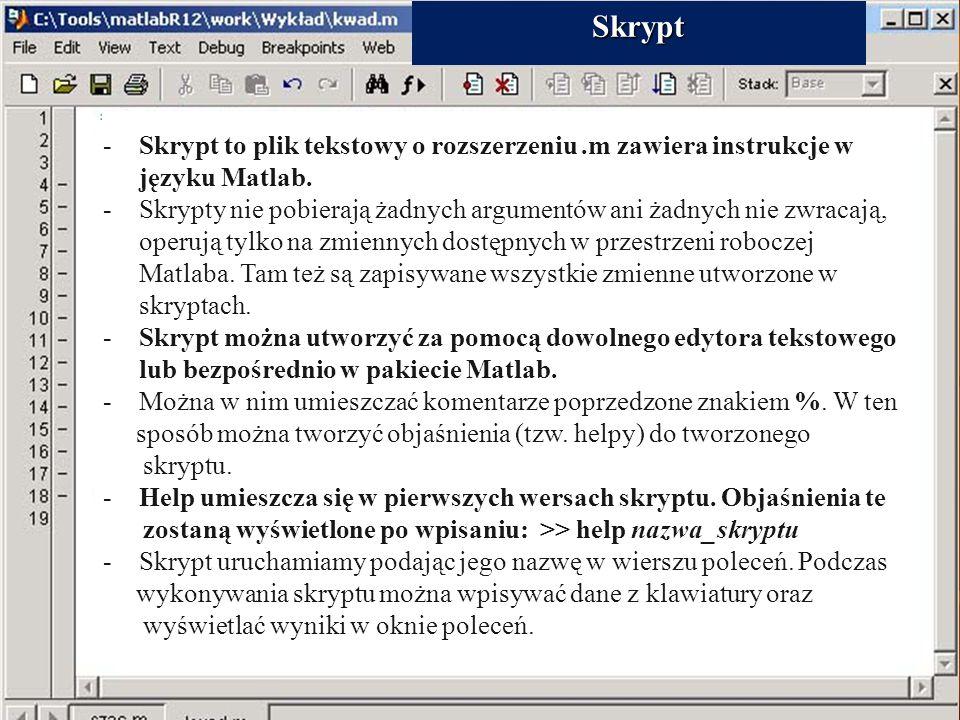 Skrypt 26. Skrypty. Skrypt to plik tekstowy o rozszerzeniu .m zawiera instrukcje w języku Matlab.