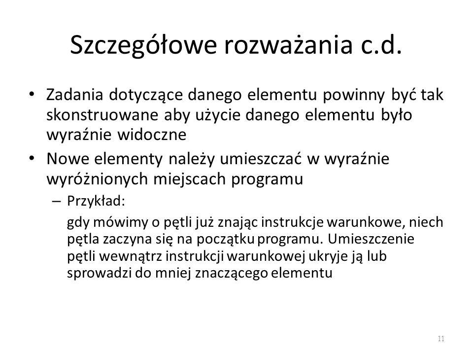 Szczegółowe rozważania c.d.