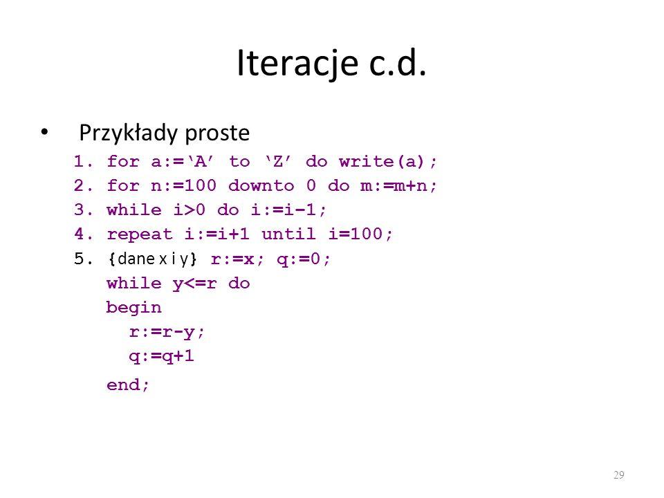 Iteracje c.d. Przykłady proste for a:='A' to 'Z' do write(a);