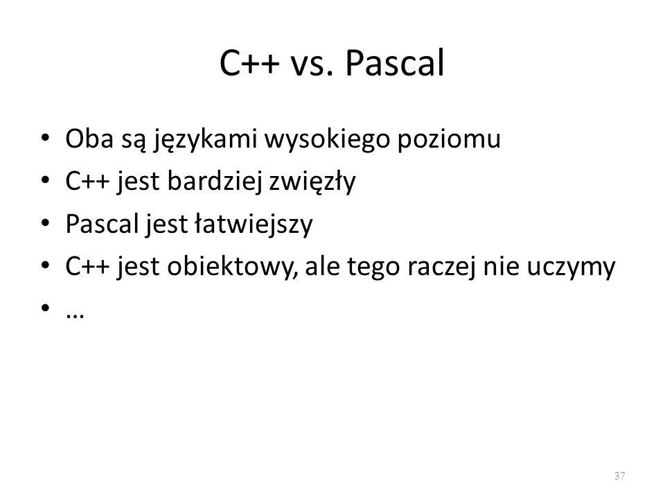 C++ vs. Pascal Oba są językami wysokiego poziomu