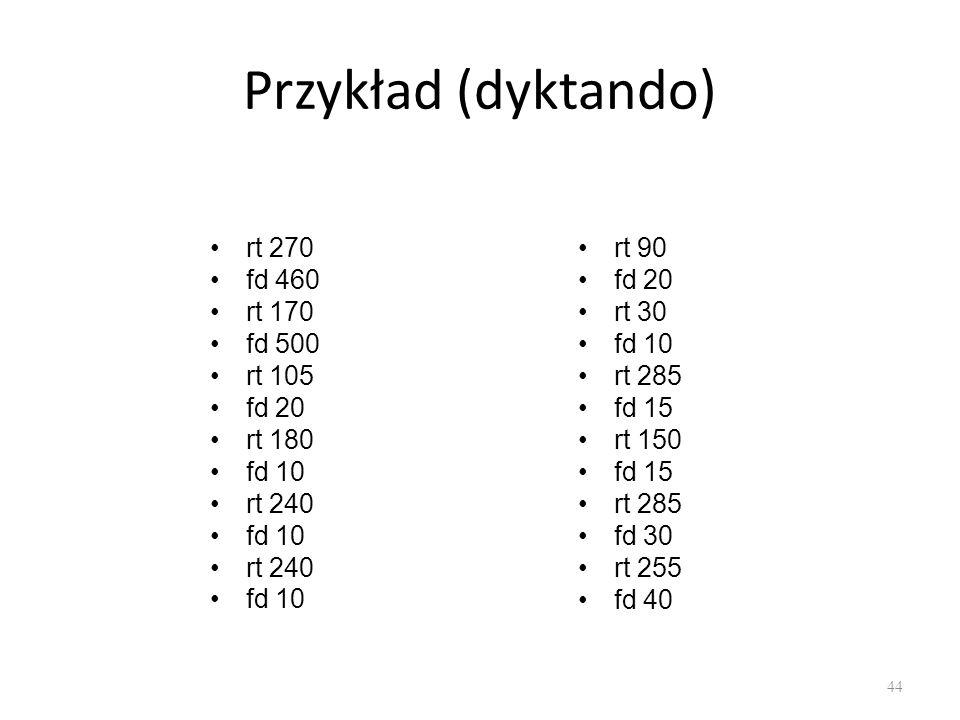 Przykład (dyktando) rt 270 fd 460 rt 170 fd 500 rt 105 fd 20 rt 180