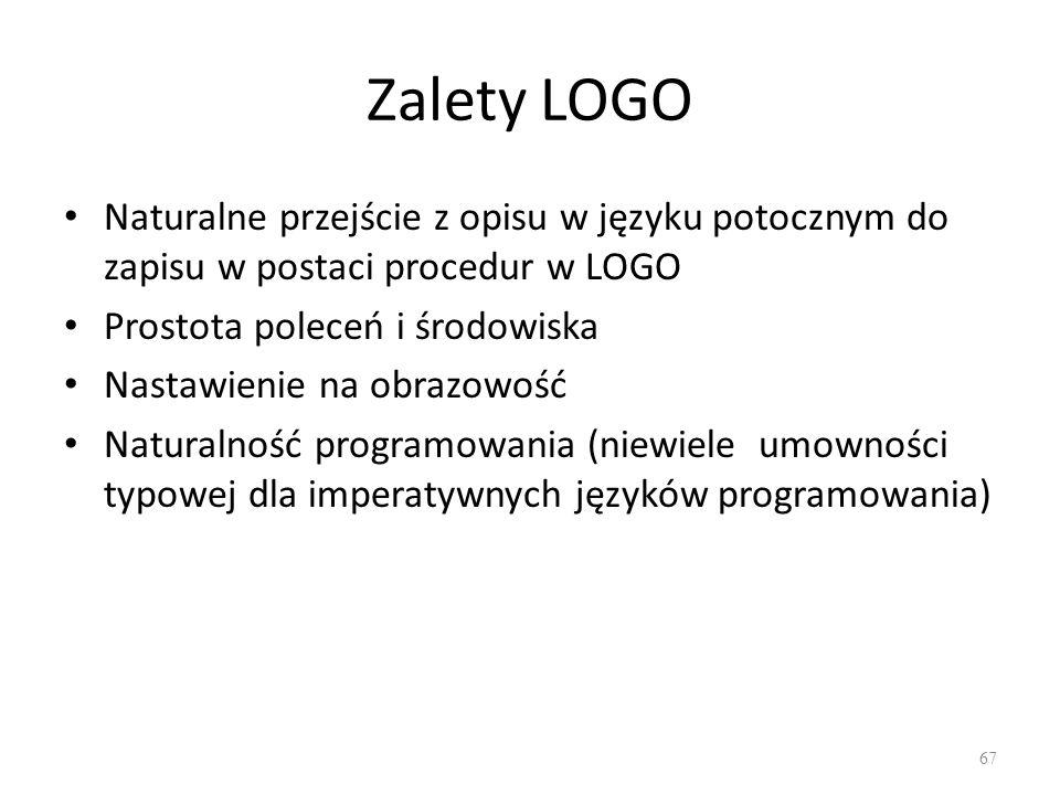 Zalety LOGO Naturalne przejście z opisu w języku potocznym do zapisu w postaci procedur w LOGO. Prostota poleceń i środowiska.