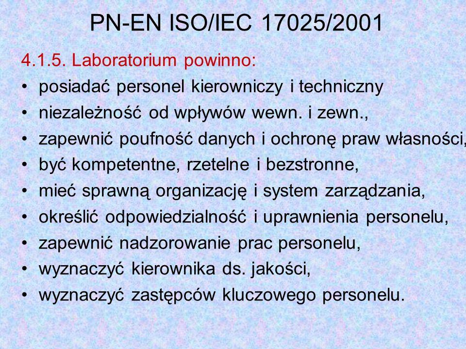 PN-EN ISO/IEC 17025/2001 4.1.5. Laboratorium powinno:
