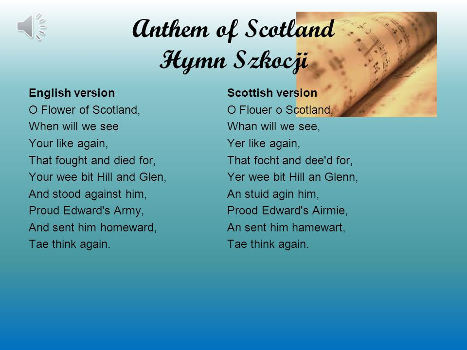 Anthem of Scotland Hymn Szkocji