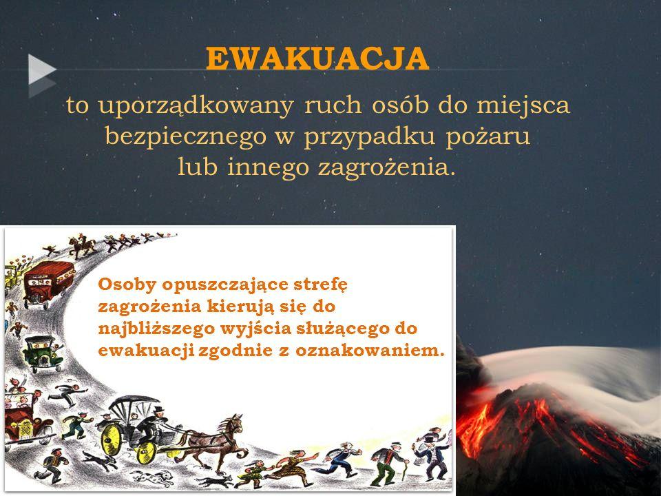 EWAKUACJA to uporządkowany ruch osób do miejsca bezpiecznego w przypadku pożaru lub innego zagrożenia.