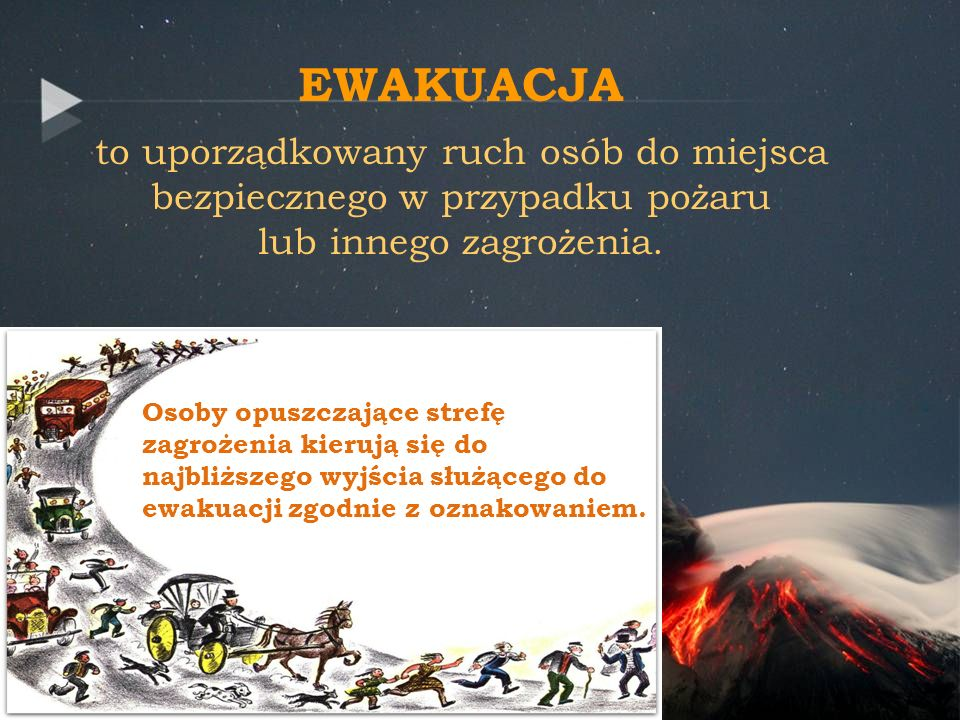 EWAKUACJAto uporządkowany ruch osób do miejsca bezpiecznego w przypadku pożaru lub innego zagrożenia.