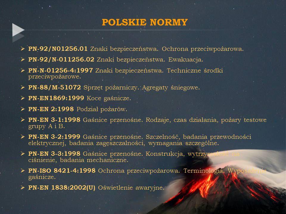 POLSKIE NORMY PN-92/N01256.01 Znaki bezpieczeństwa. Ochrona przeciwpożarowa. PN-92/N-011256.02 Znaki bezpieczeństwa. Ewakuacja.