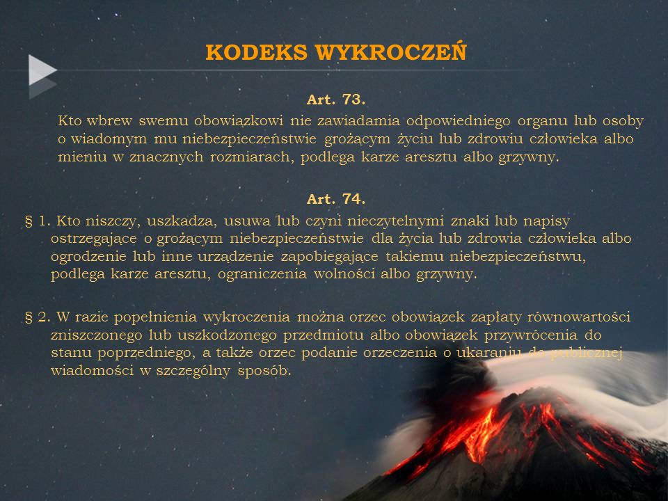 KODEKS WYKROCZEŃ Art. 73.