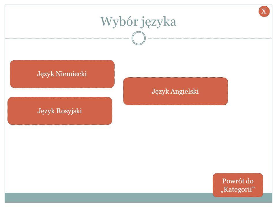 Wybór języka X Język Niemiecki Język Angielski Język Rosyjski