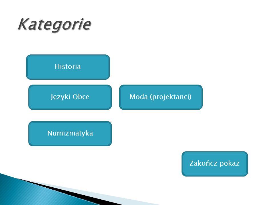 Kategorie Historia Języki Obce Moda (projektanci) Numizmatyka