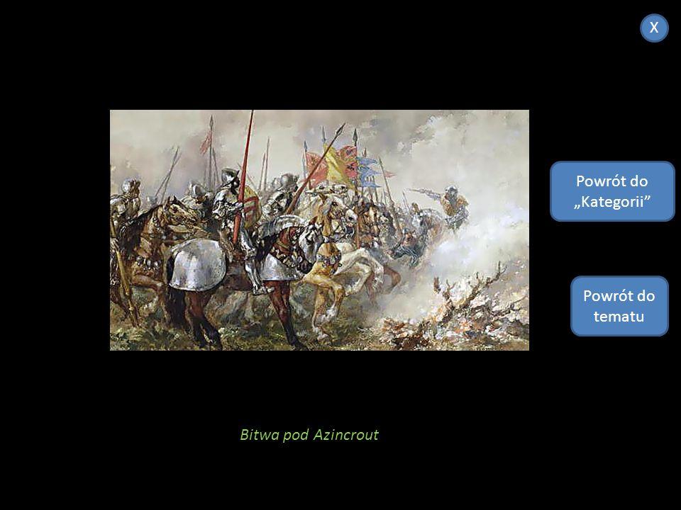 """X Powrót do """"Kategorii Powrót do tematu Bitwa pod Azincrout"""