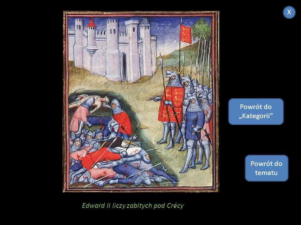 """X Powrót do """"Kategorii Powrót do tematu Edward II liczy zabitych pod Crécy"""