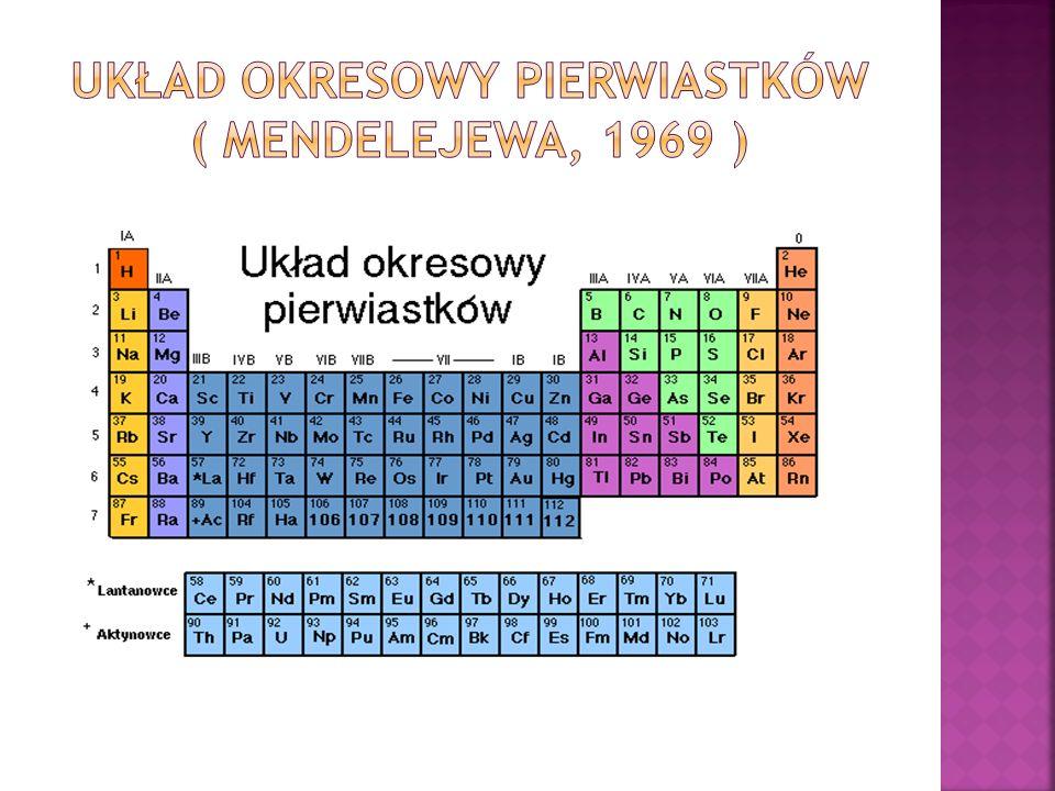 UKŁAD OKRESOWY PIERWIASTKÓW ( Mendelejewa, 1969 )