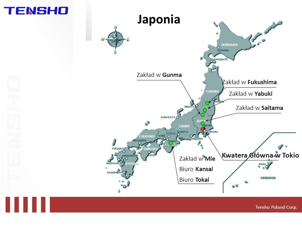 Japonia Kwatera Główna w Tokio Zakład w Gunma Zakład w Fukushima