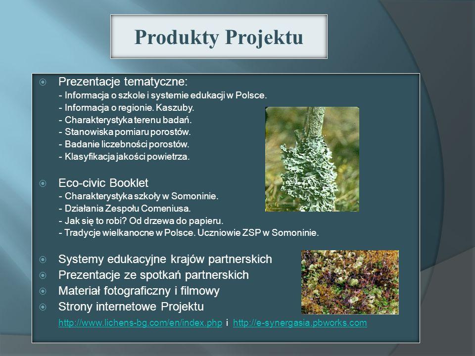 Produkty Projektu Prezentacje tematyczne: Eco-civic Booklet