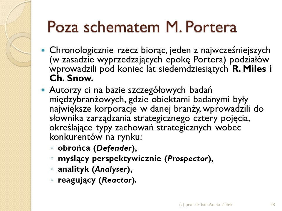 Poza schematem M. Portera