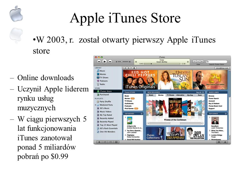 Apple iTunes Store W 2003, r. został otwarty pierwszy Apple iTunes store. Online downloads. Uczynił Apple liderem rynku usług muzycznych.