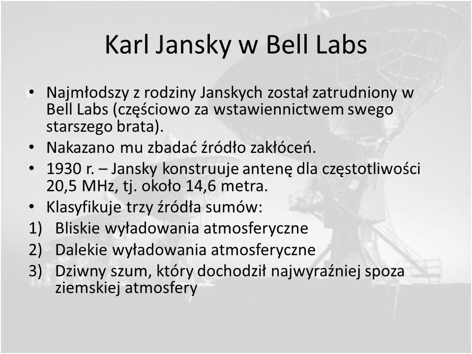 Karl Jansky w Bell Labs Najmłodszy z rodziny Janskych został zatrudniony w Bell Labs (częściowo za wstawiennictwem swego starszego brata).
