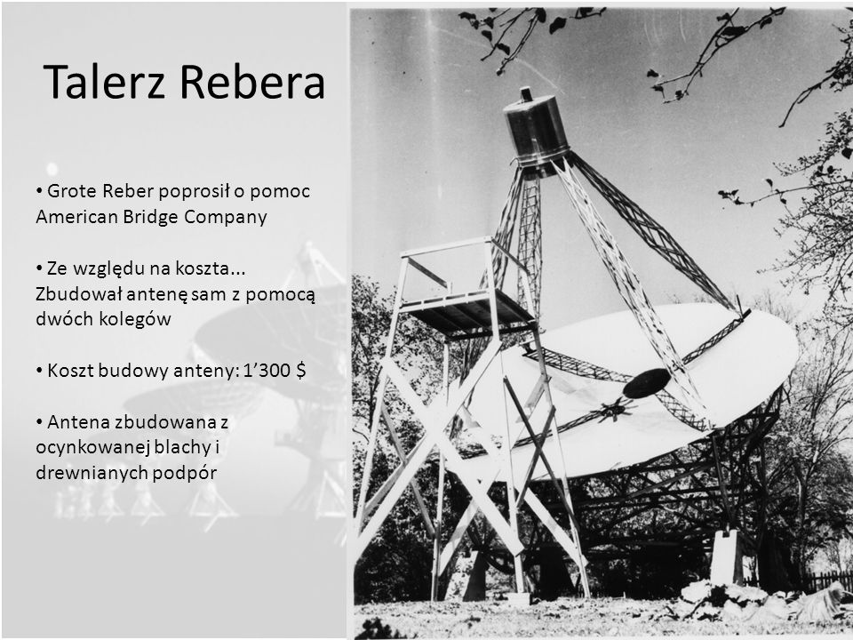 Talerz Rebera Grote Reber poprosił o pomoc American Bridge Company