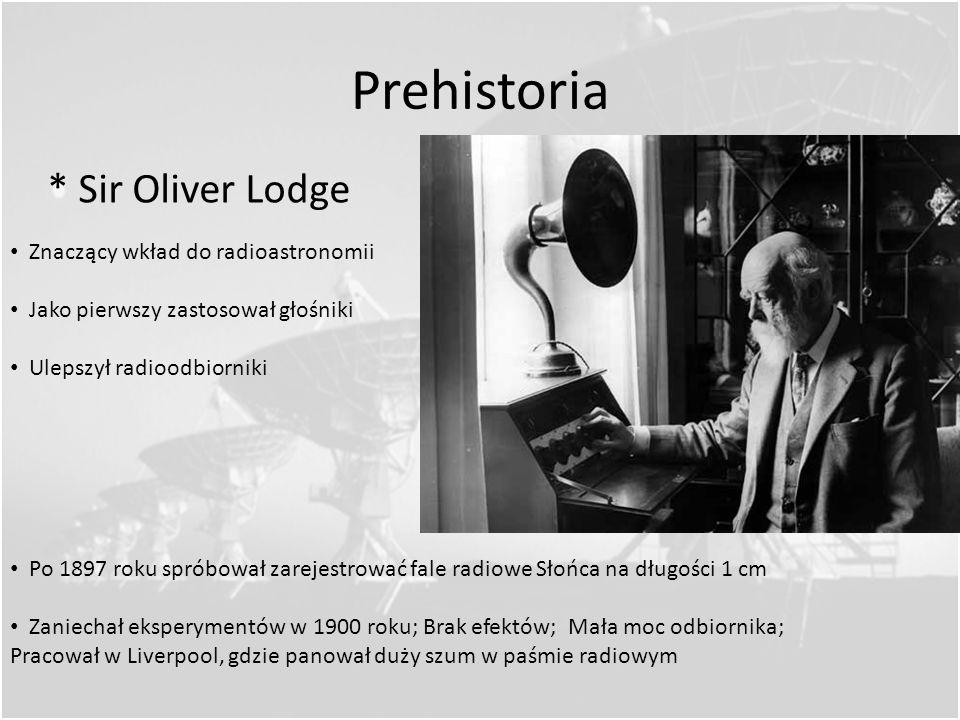 Prehistoria * Sir Oliver Lodge Znaczący wkład do radioastronomii
