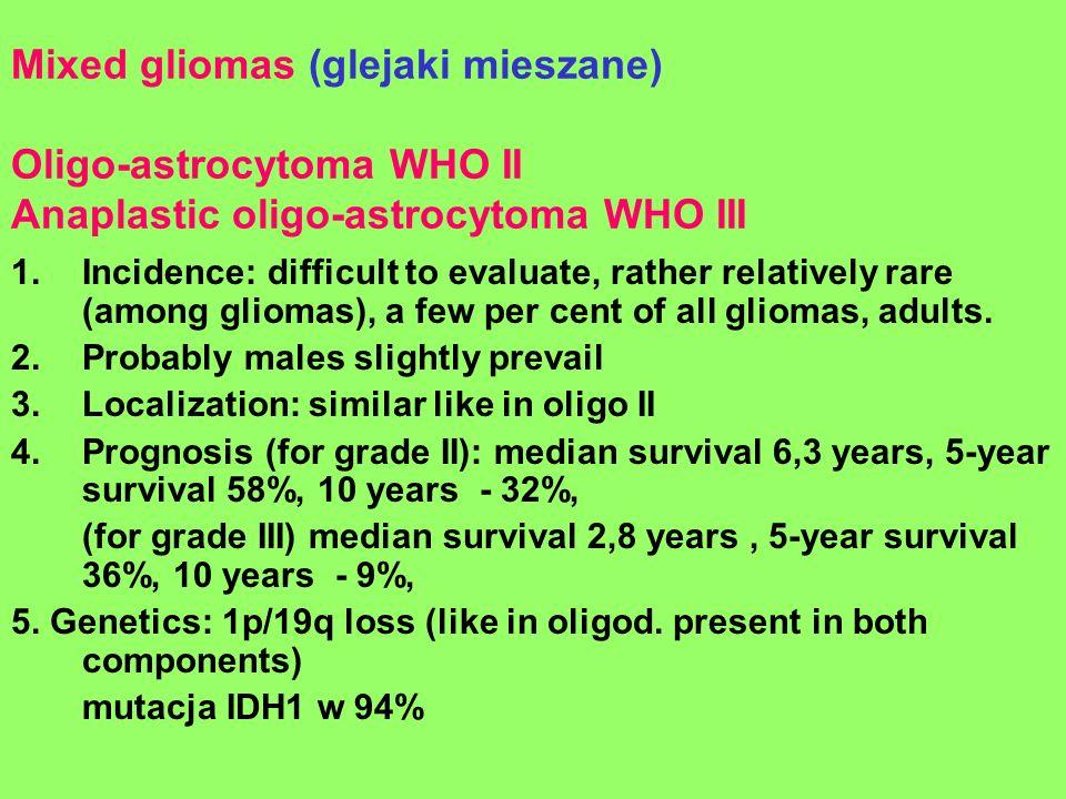 Mixed gliomas (glejaki mieszane) Oligo-astrocytoma WHO II Anaplastic oligo-astrocytoma WHO III