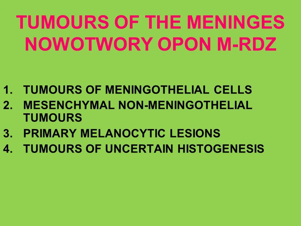 TUMOURS OF THE MENINGES NOWOTWORY OPON M-RDZ