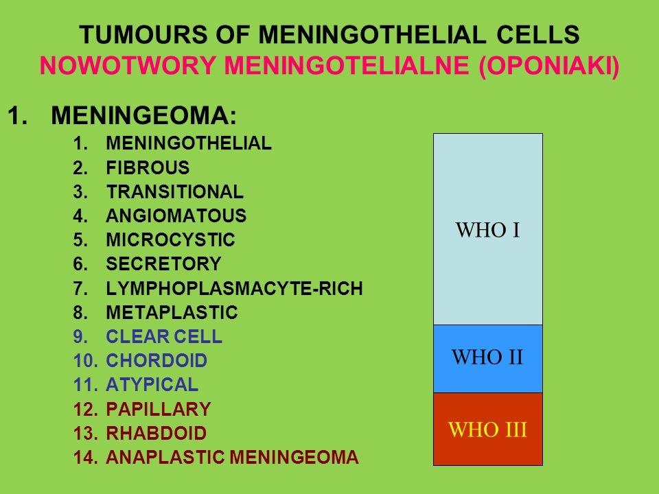 TUMOURS OF MENINGOTHELIAL CELLS NOWOTWORY MENINGOTELIALNE (OPONIAKI)